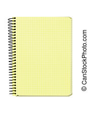 caderno, espiral, fundo