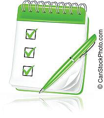 caderno espiral, vetorial, ícone