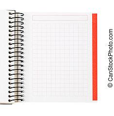 caderno, folha, em branco