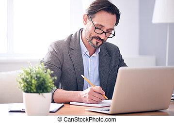 caderno, homem, escrita