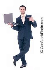 caderno, homem negócio