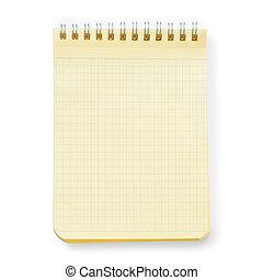 caderno, isolado, amarela