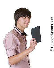 caderno, jovem, homem negócio