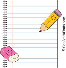 caderno, lápis, borracha