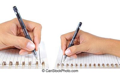 caderno, mão aberta, escrita