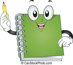 caderno, mascote