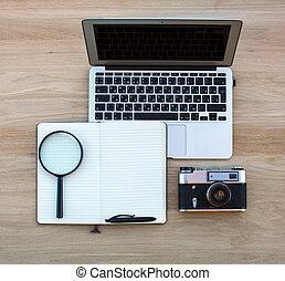 caderno, notepad, com, caneta