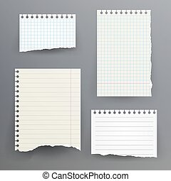 caderno, papeis, com, rasgado, borda, vetorial,...