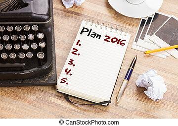 caderno, plano, anual