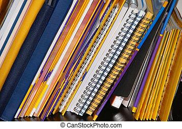 cadernos, ligado, prateleira