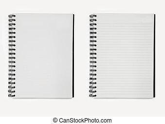 cadernos, papel, dois, espiral