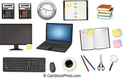 cadernos, relógio, calculadora