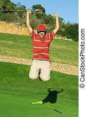 cadet, gagner, jeune, junior, célébrer, golfeur, ou