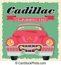 cadillac poster retro style with car and year vector illustration design