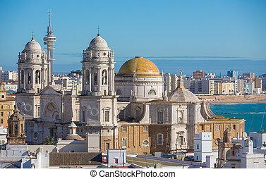 Cadiz Cathedral - Landscape of the Cathedral of Cadiz,...
