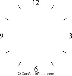 cadran, 12, horloge, 6, 3, noir, signes, 9