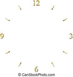 cadran, 12, or, horloge, 6, 3, signes, 9