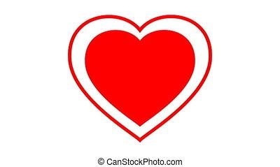 cadran, arrière-plan., animation, cœurs, blanc, chromakey