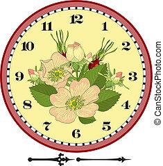 cadran, fleur, retro, horloge