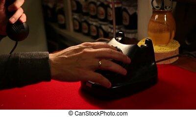 cadrans, bureau, téléphone rotatif, retro, téléphone, vieux, composer, homme