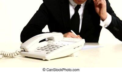 cadrans, number., main, planète, téléphone, fond, homme affaires, homme