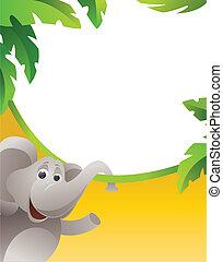 cadre, à, éléphant