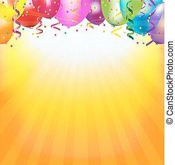 cadre, à, ballons colorés, et, sunburst