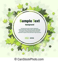 cadre, à, feuilles vertes, fond