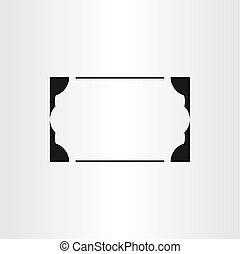 cadre, élément, vecteur, arrière-plan noir, frontière, vide