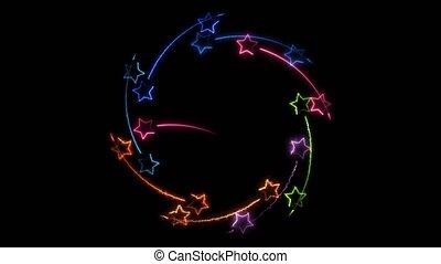 cadre, étoiles, magie, dehors, mouvement, milieu, étoile, rouler