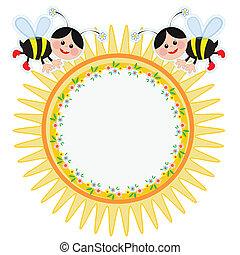 cadre, abeilles, rond
