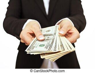 cadre affaires, donner, pot-de-vin, argent