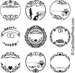 cadre, anneaux, rond, mariage