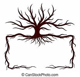 cadre, arbre.