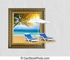 cadre, arbre, effet, exotique, sable, paume, chaise, plage, 3d