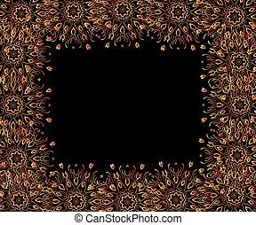 cadre, arrière-plan noir, or