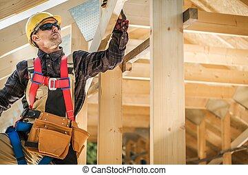 cadre, bâtiment, bois, maison
