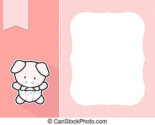 cadre, bébé, mini, cochon