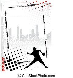 cadre, base-ball, vertical