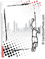 cadre, basket-ball, vertical