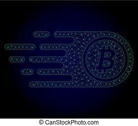 cadre, bitcoin, illustration, polygonal, vecteur, maille