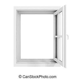 cadre, blanc, fenêtre, fond, 3d