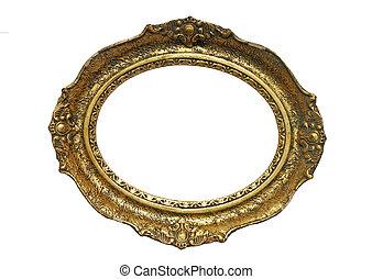 cadre bois image, or, plaqué