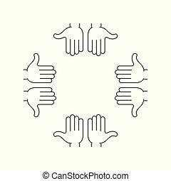 cadre, bras, mains