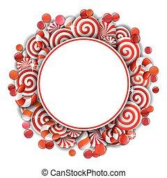 cadre, candies., blanc rouge