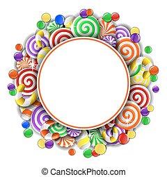 cadre, candies., coloré