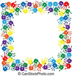 cadre, caractères, coloré, main