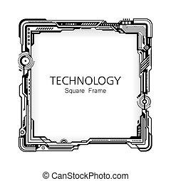 cadre, carrée, technologie, design.