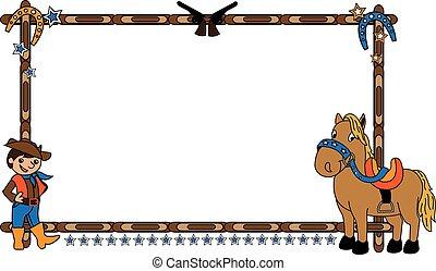 cadre, cheval, cow-boy