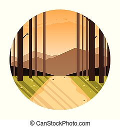 cadre, circulaire, scène, paysage, forêt